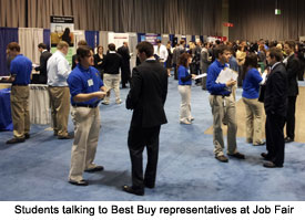 Students talking with Best Buy reps